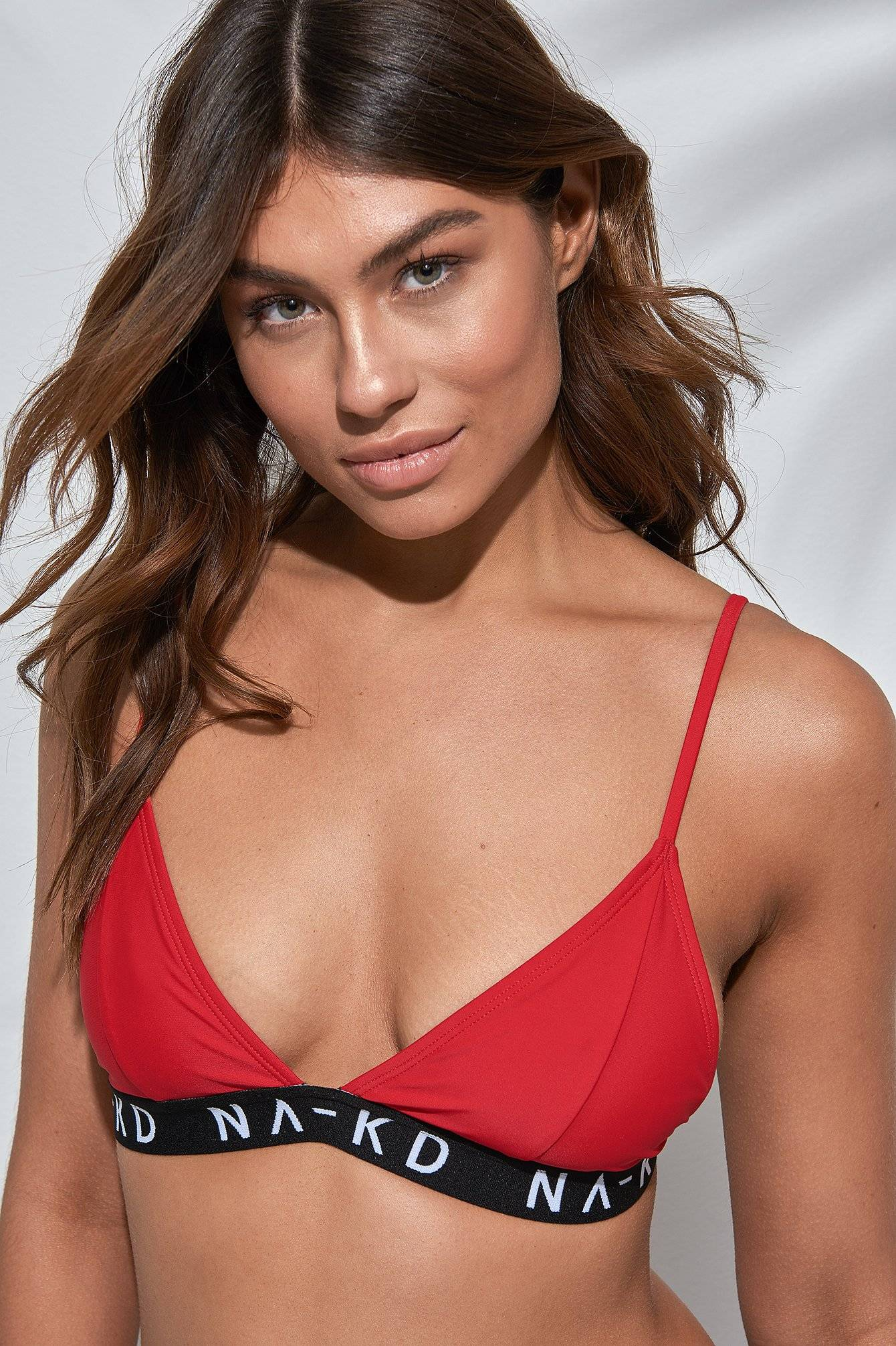 NA-KD Swimwear Sporty Logo Triangle Top - Red
