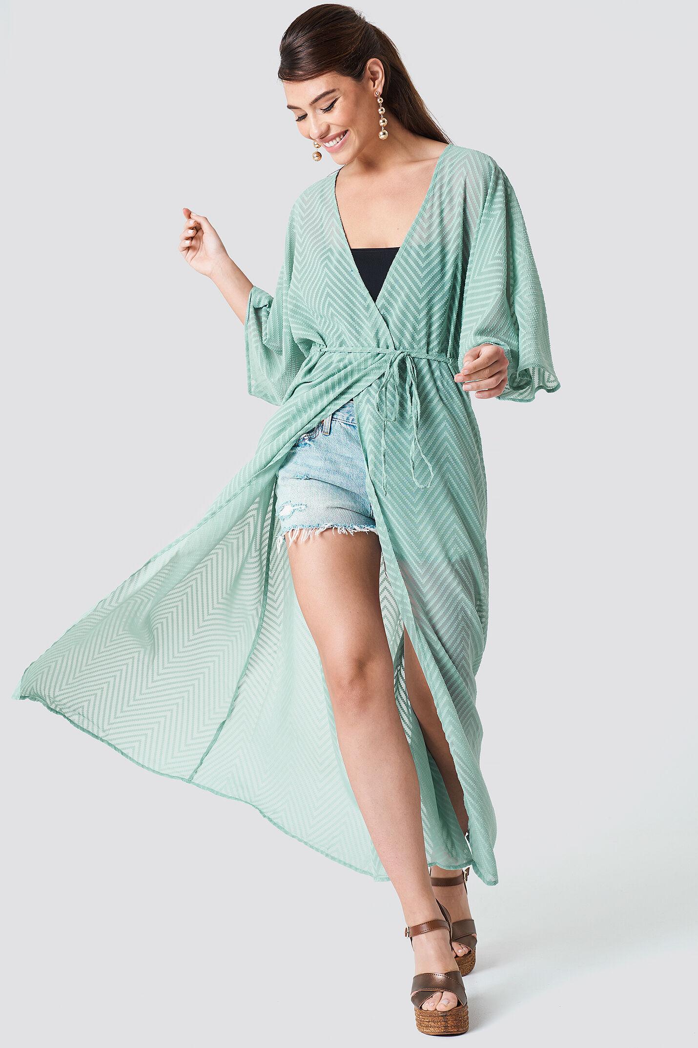 Image of NA-KD Boho Structured Chiffon Coat Dress - Green