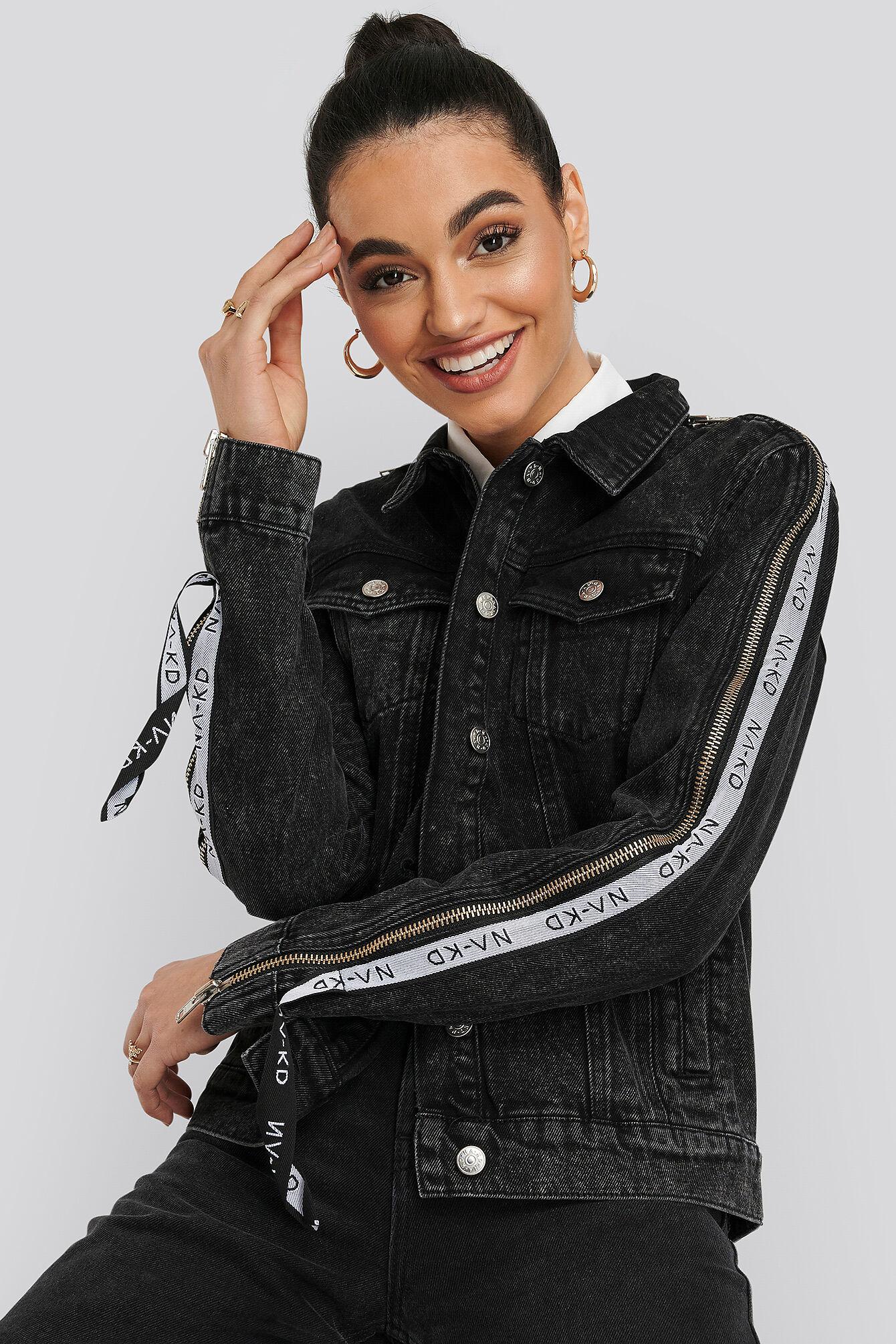 NA-KD Tape Zip Detail Denim Jacket - Black