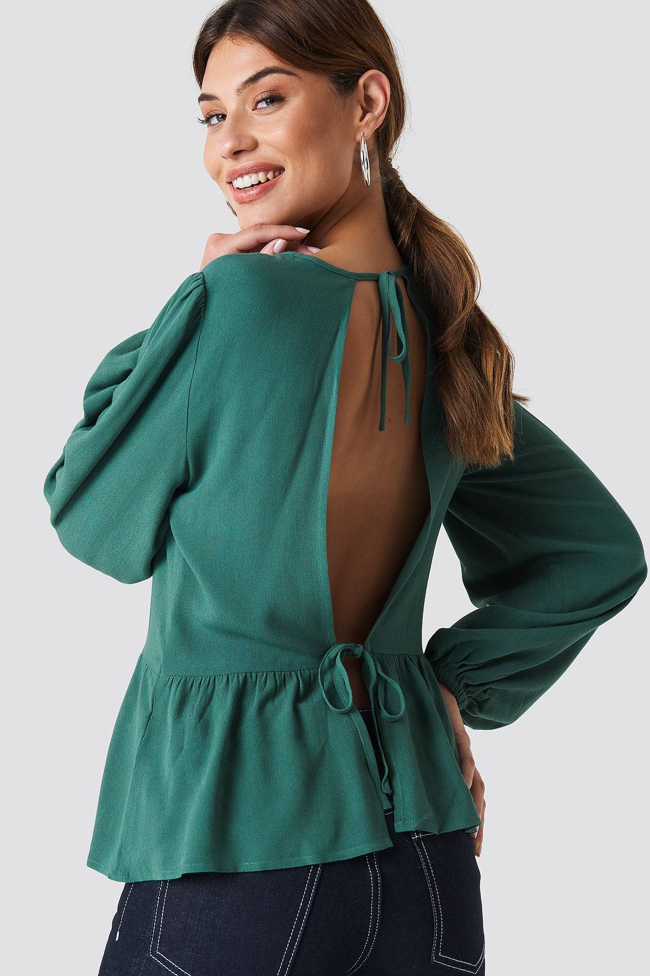 Image of NA-KD Tie Detail Open Back Top - Green