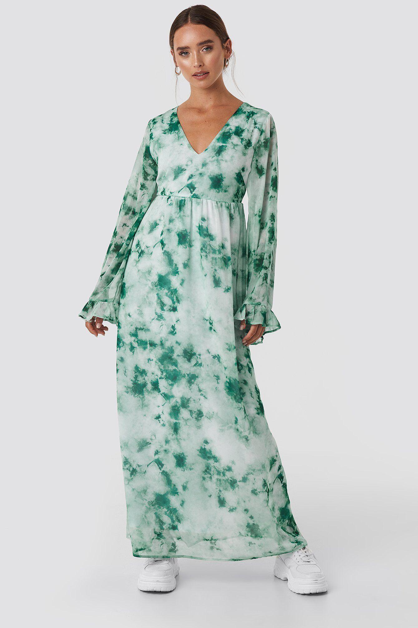 Image of NA-KD Tie Dye Maxi Dress - Green