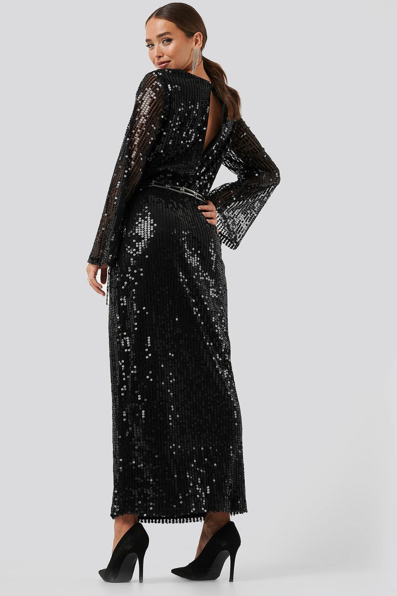 Image of NA-KD Party Trumpet Sleeve Sequin Dress - Black