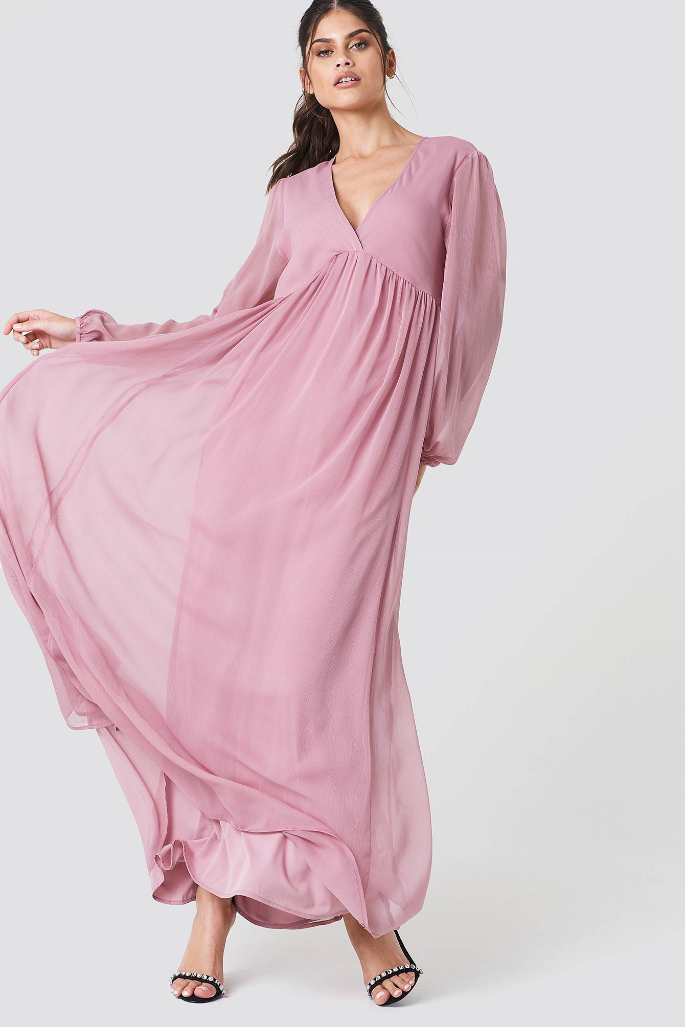 Image of NA-KD Boho Wide Balloon Sleeve Chiffon Dress - Pink