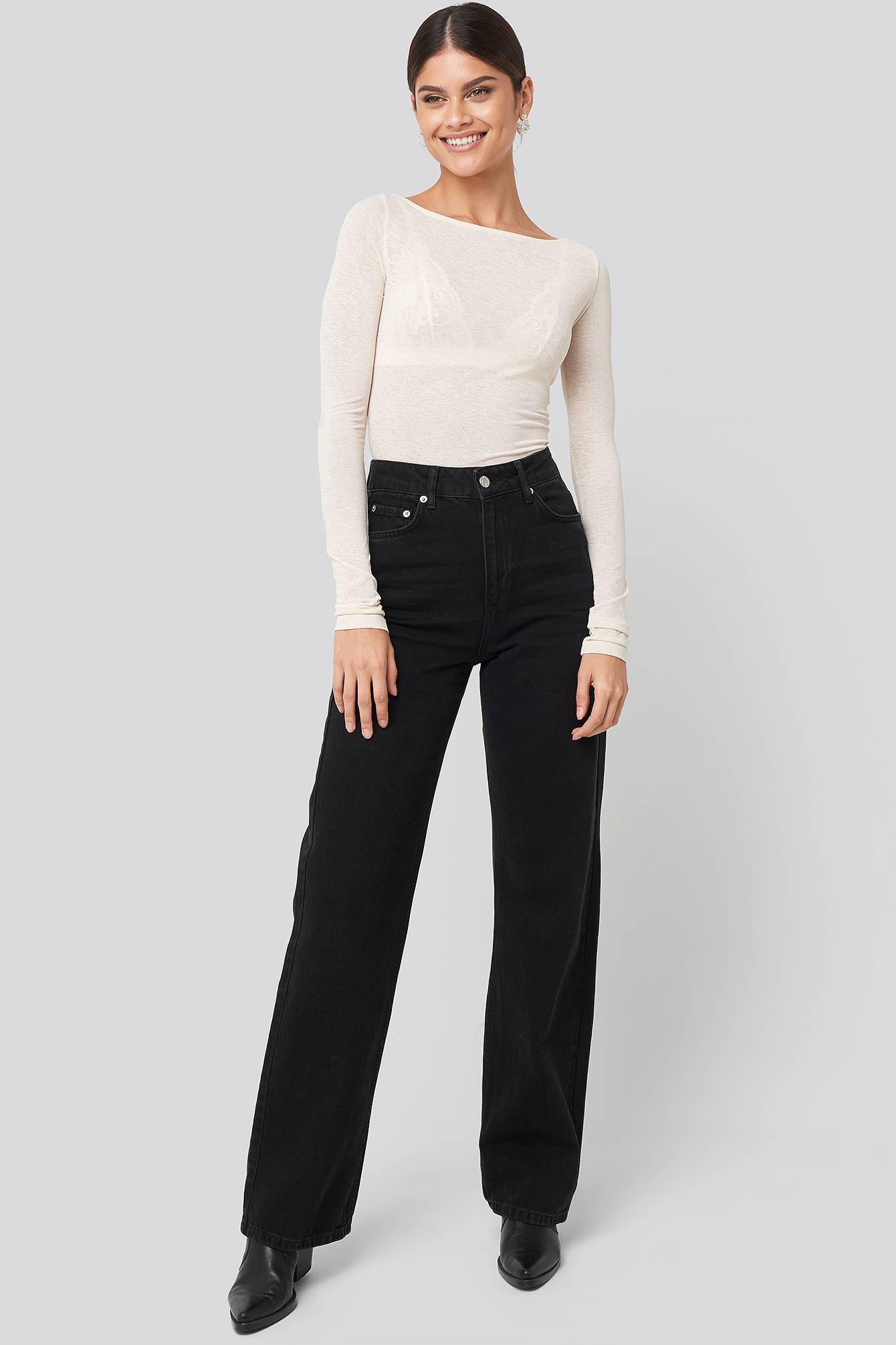 NA-KD Trend Wide Leg Highwaisted Denim - Black