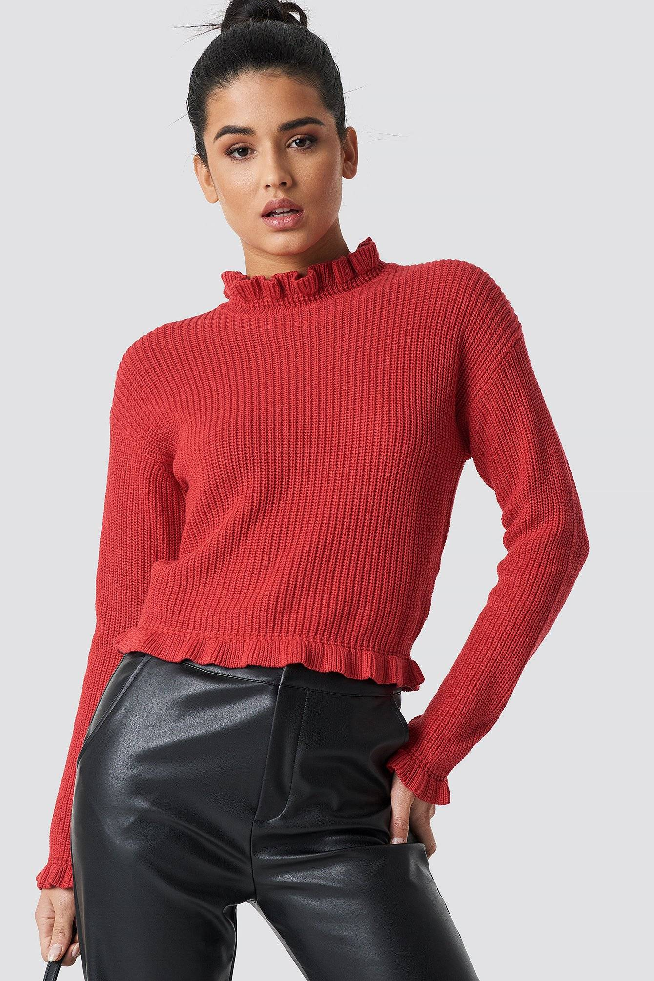 Rut&Circle Emelie Frill Knit - Red