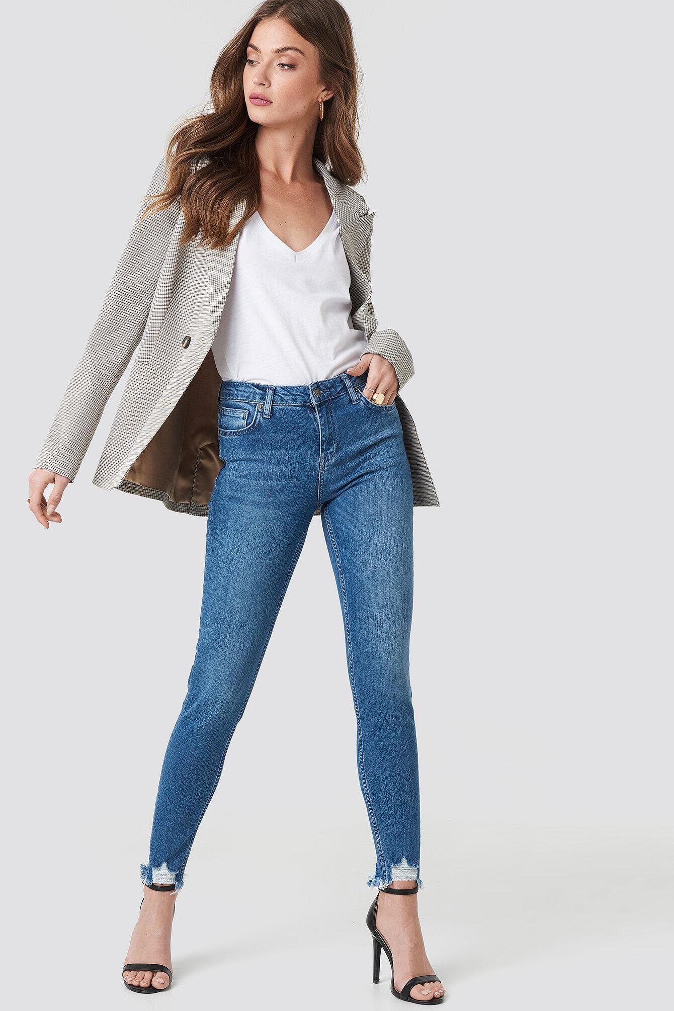 Rut&Circle Victoria Destroyed Hem Jeans - Blue
