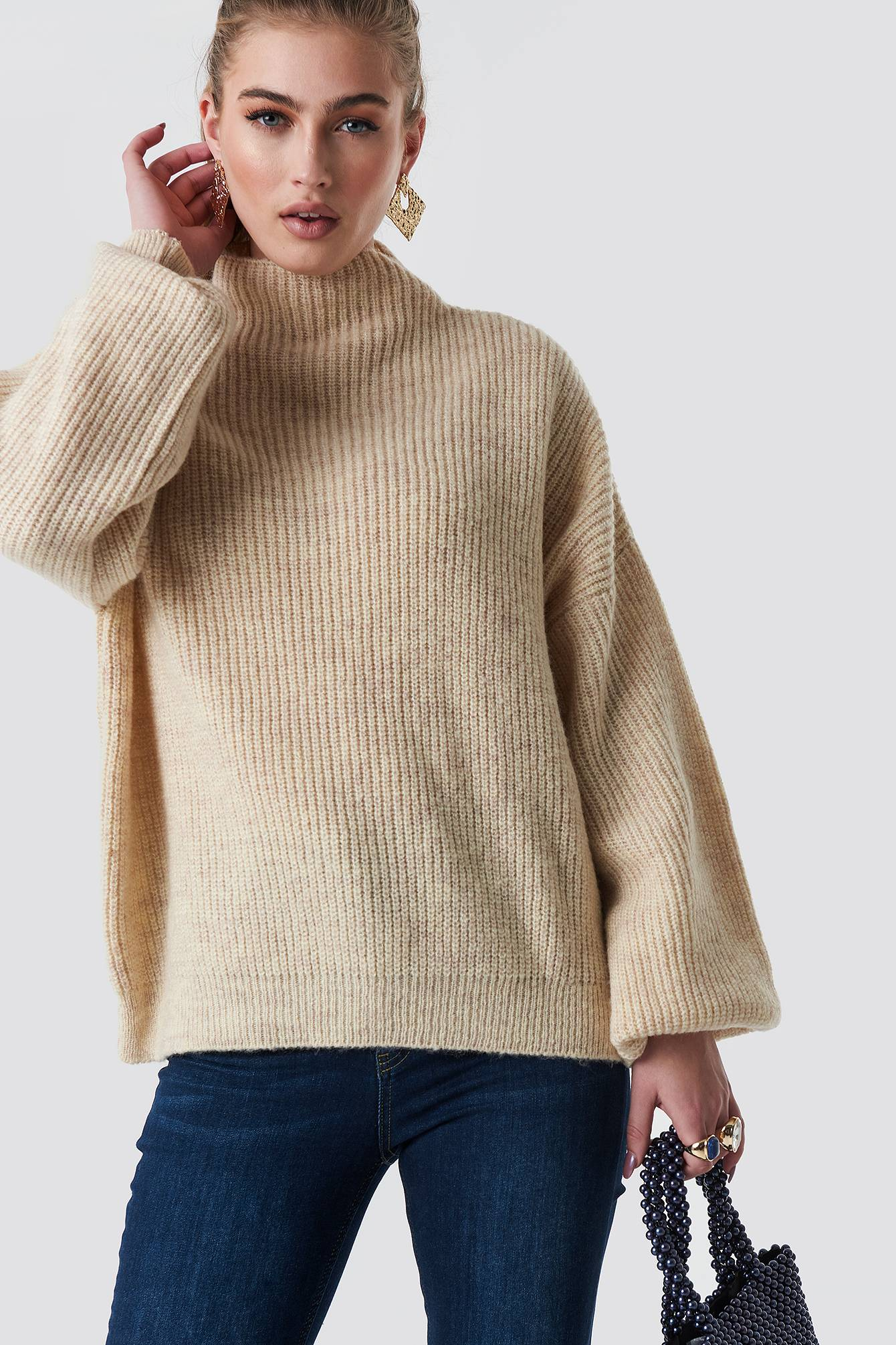 Statement By NA-KD Influencers Jennifer Andersson Knitted Sweater - Beige