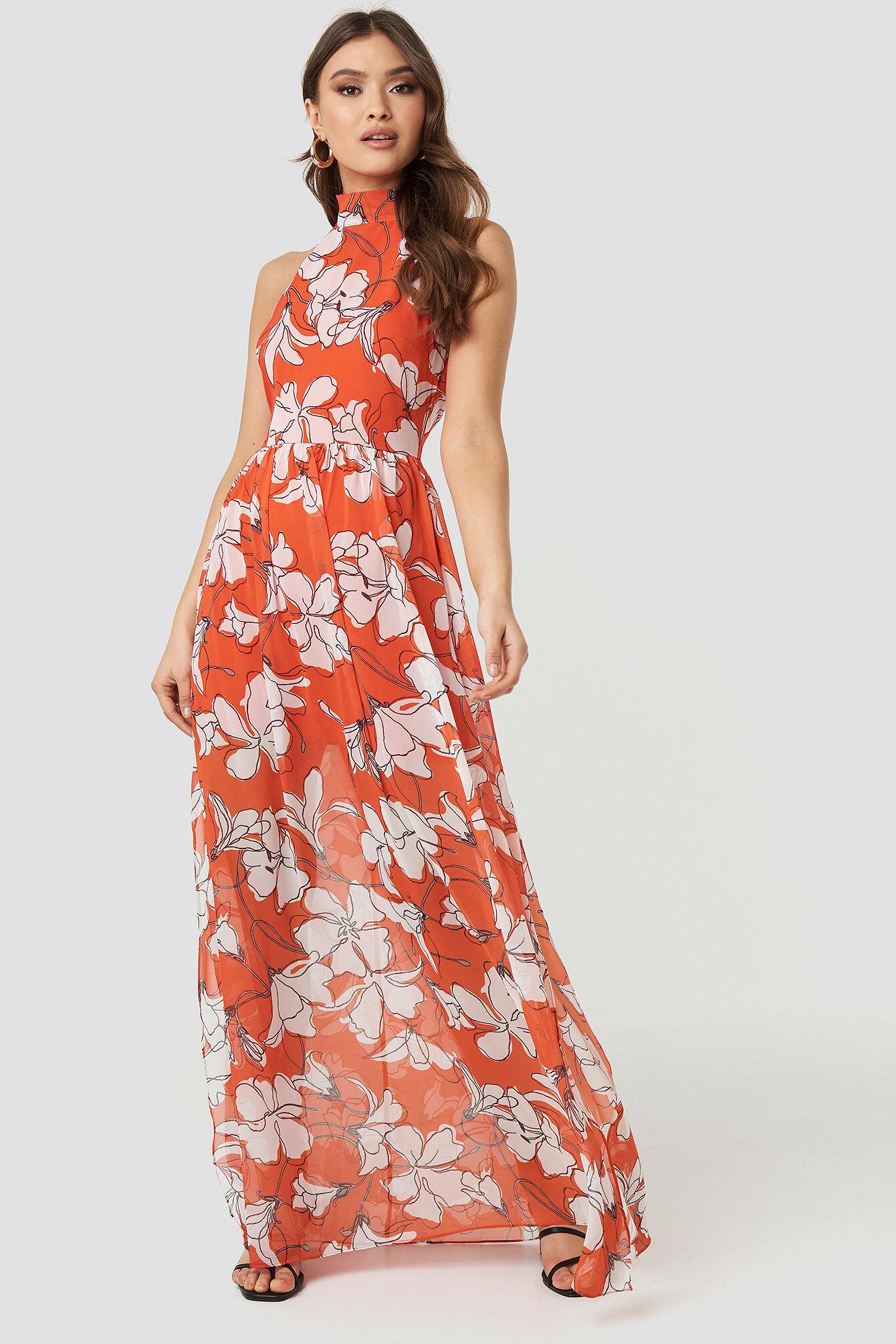 Image of Trendyol Flower Patterned Long Dress - Multicolor