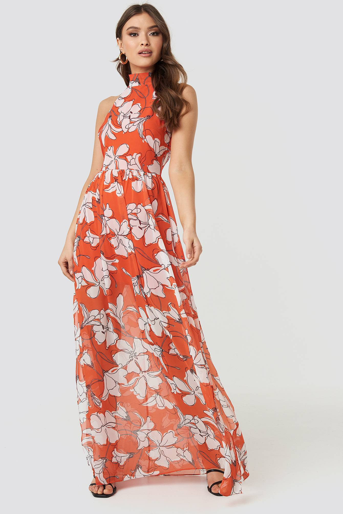 Image of Trendyol Flower Patterned Long Dress - Multicolor