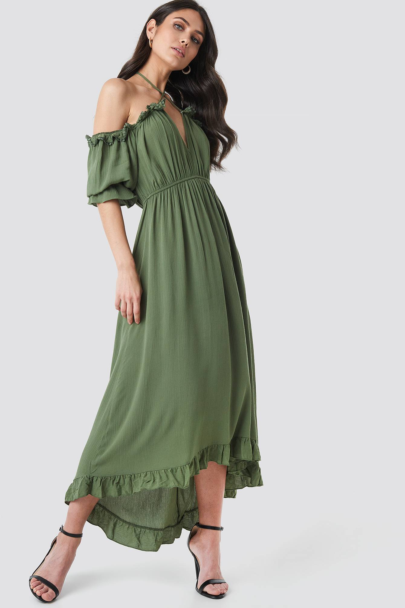 Image of Trendyol Ruffle Detail Maxi Dress - Green