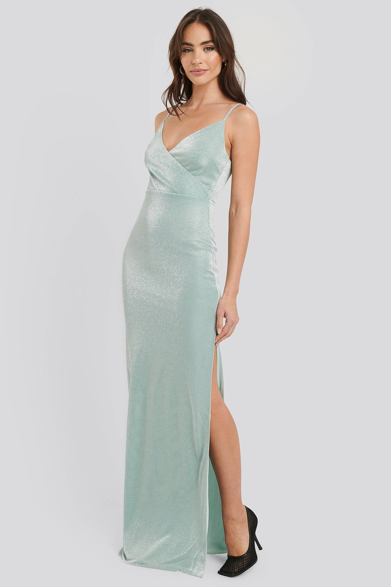 Image of Trendyol Sparkly Split Maxi Dress - Green
