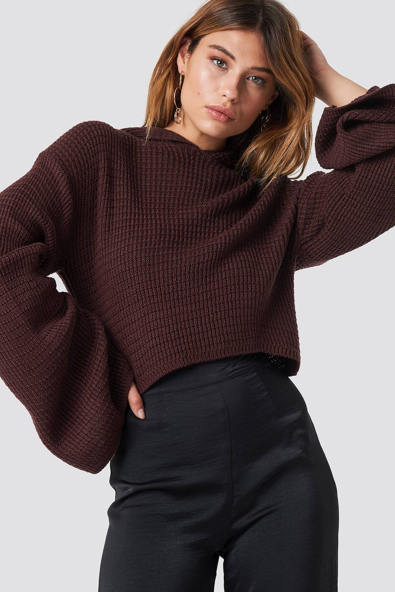 XLE the Label Hannah Cropped Hoodie - Red