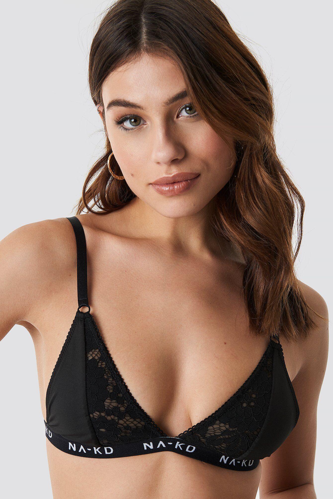 NA-KD Lingerie Branded Elastic Lace Bra - Black