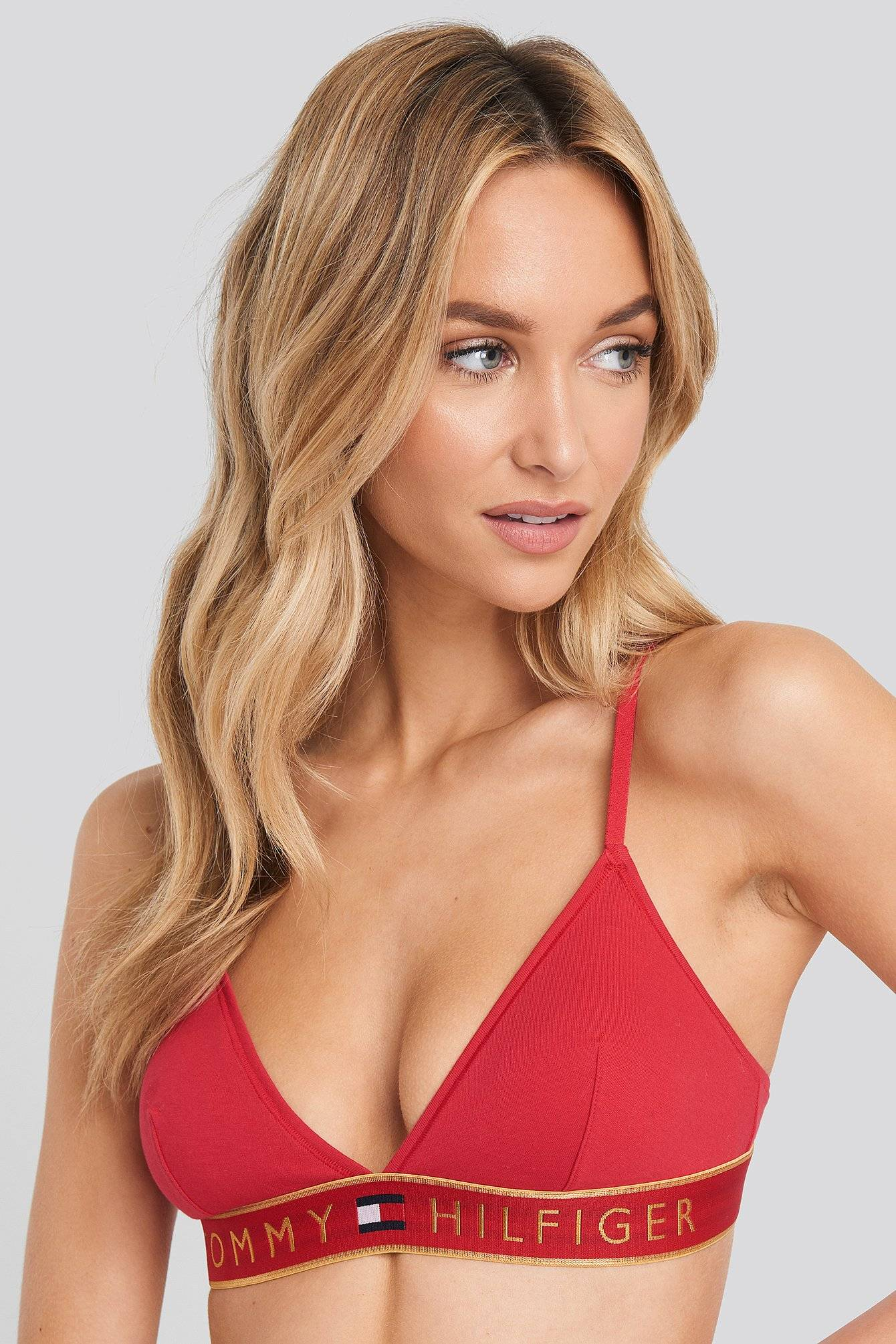 Tommy Hilfiger Original Cotton Triangle Bra - Red  - Size: Small