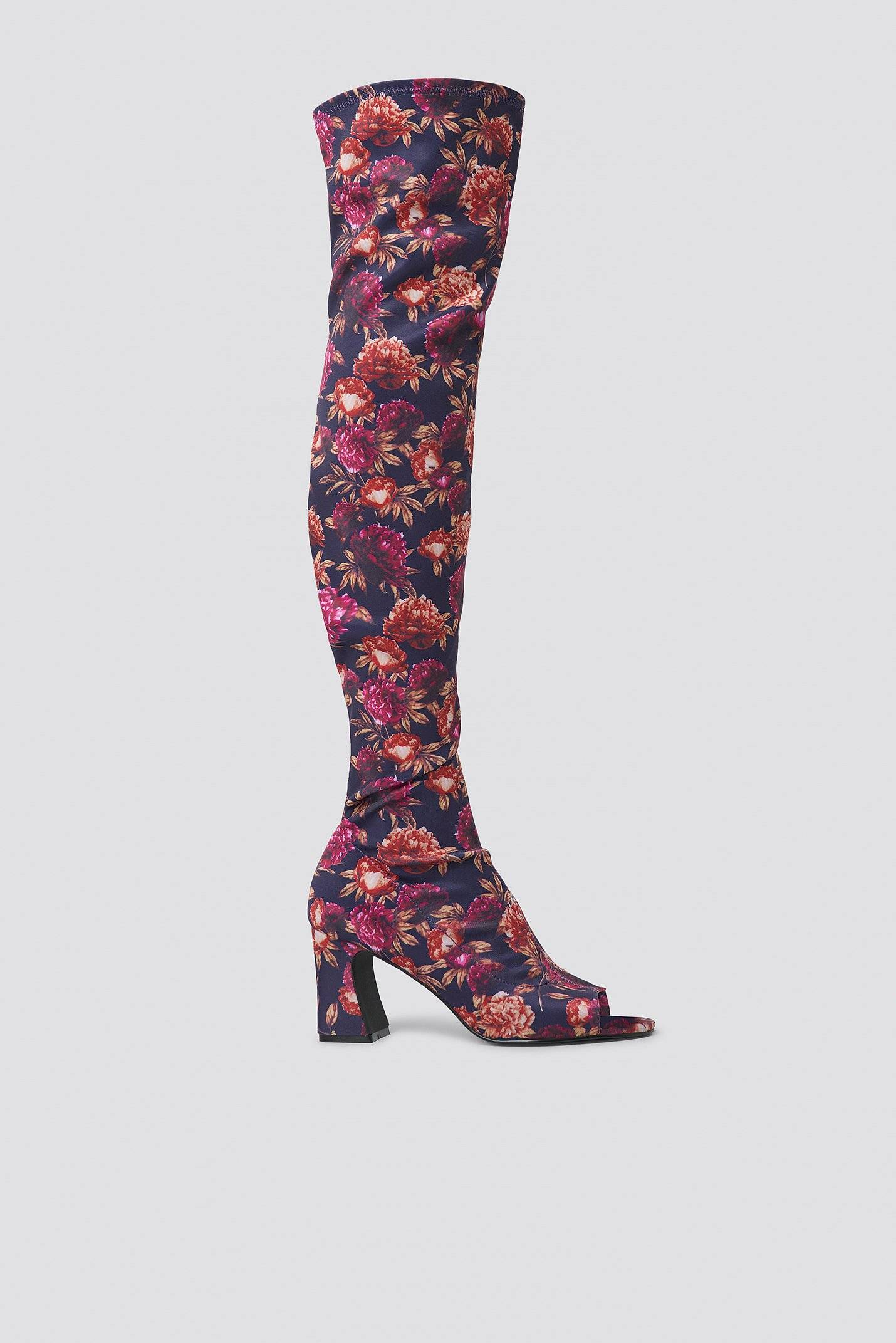 Image of NA-KD Shoes Open Toe Knee High Boots - Multicolor