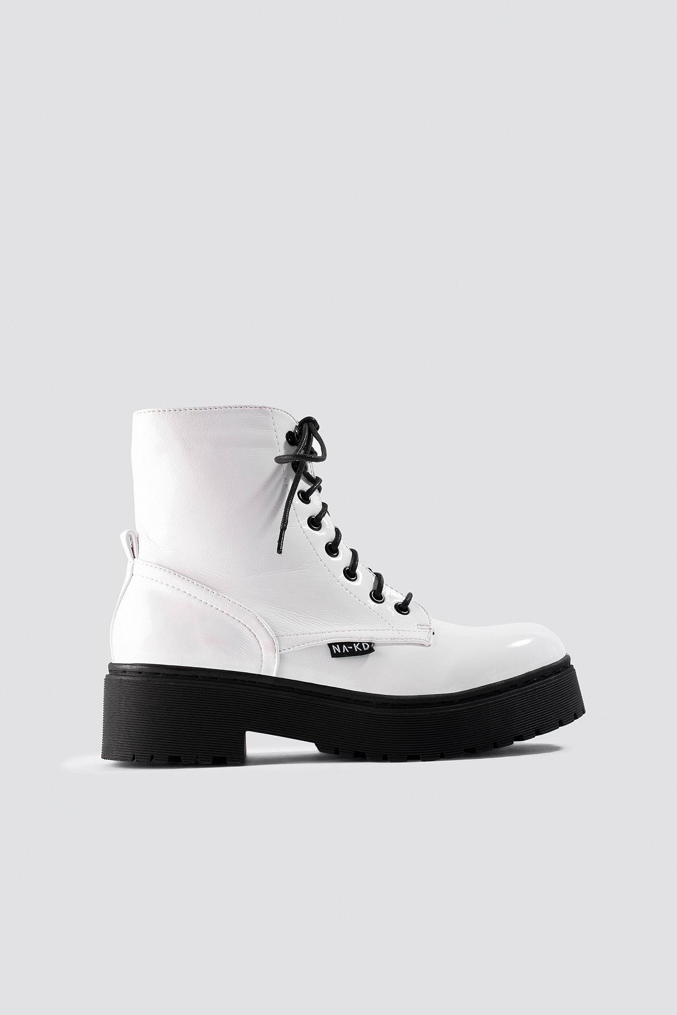 NA-KD Shoes Patent Combat Boots - White