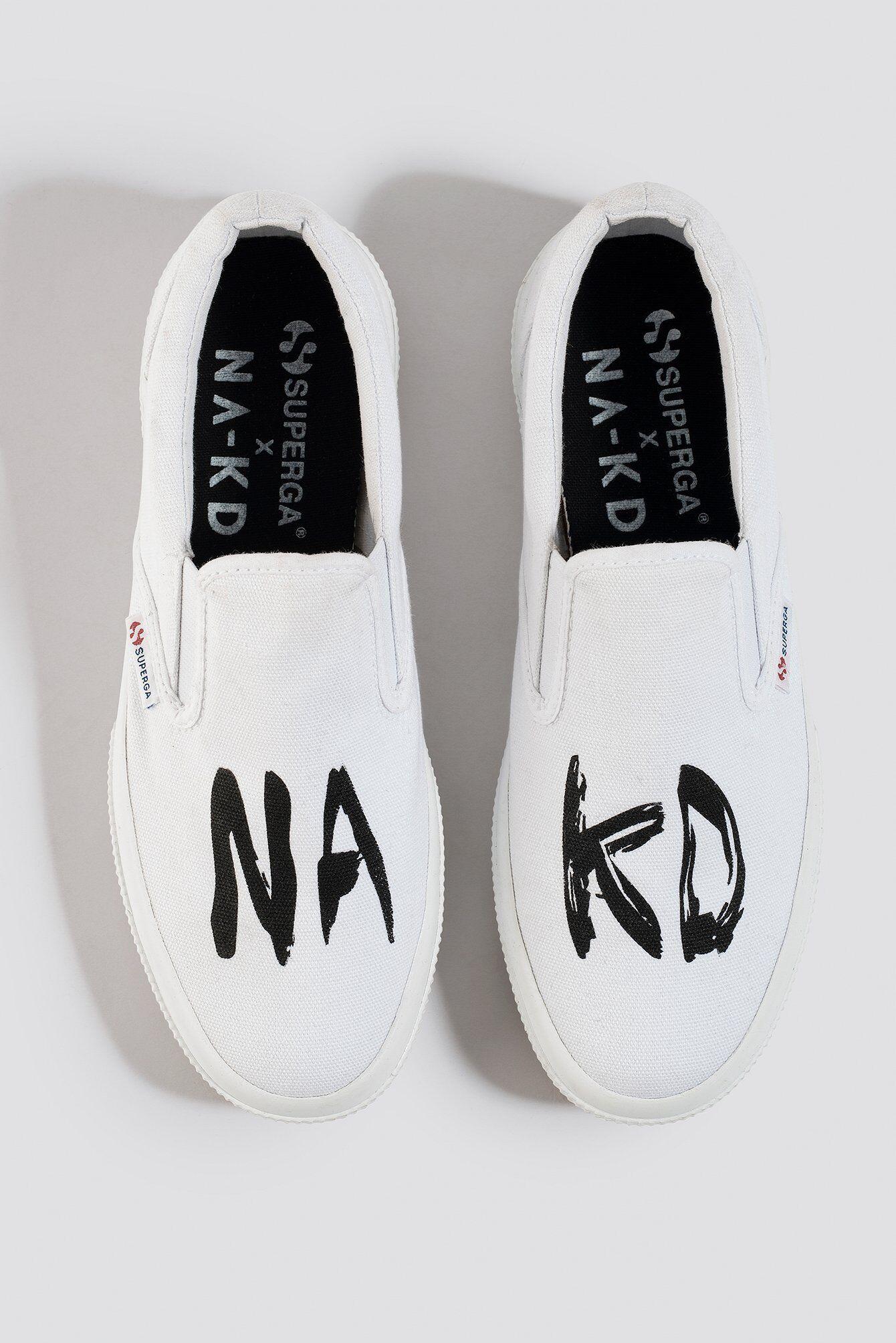 Superga x NA-KD Branded Slip-On Sneaker - White  - Size: EU 36,EU 37,EU 38,EU 39,EU 40,EU 41