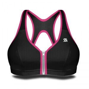 Shock Absorber Zipped Bra, black/pink, Shock Absorber