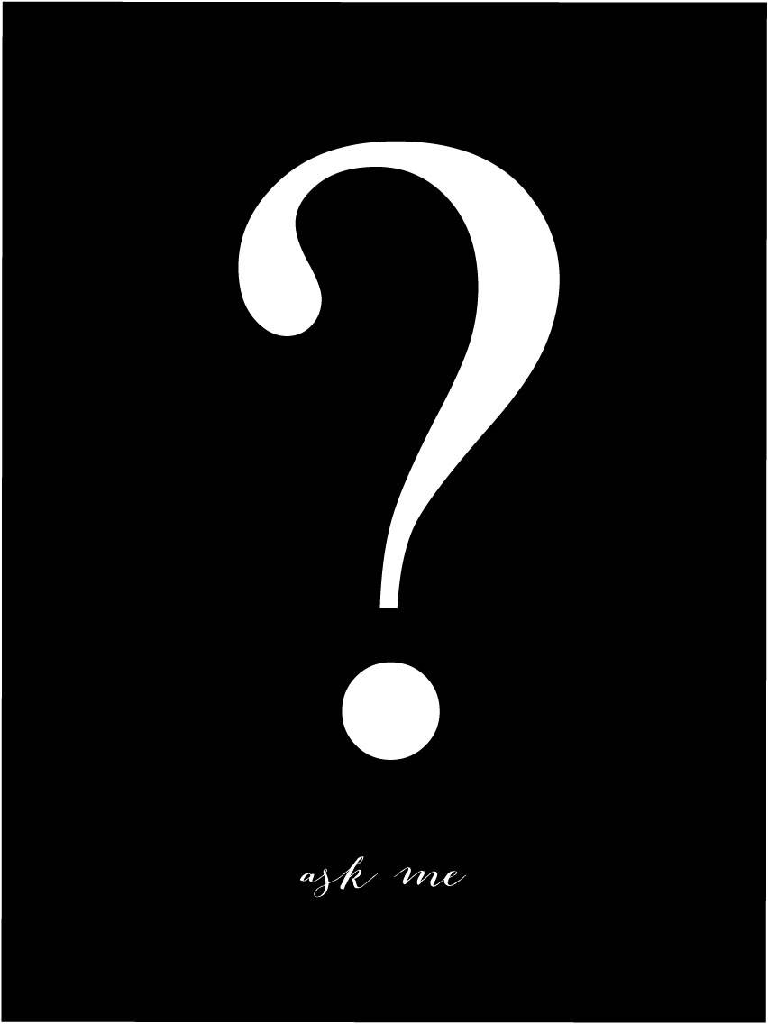 Malimi Posters Ask me - Musta pohja valkoisella painatuksella