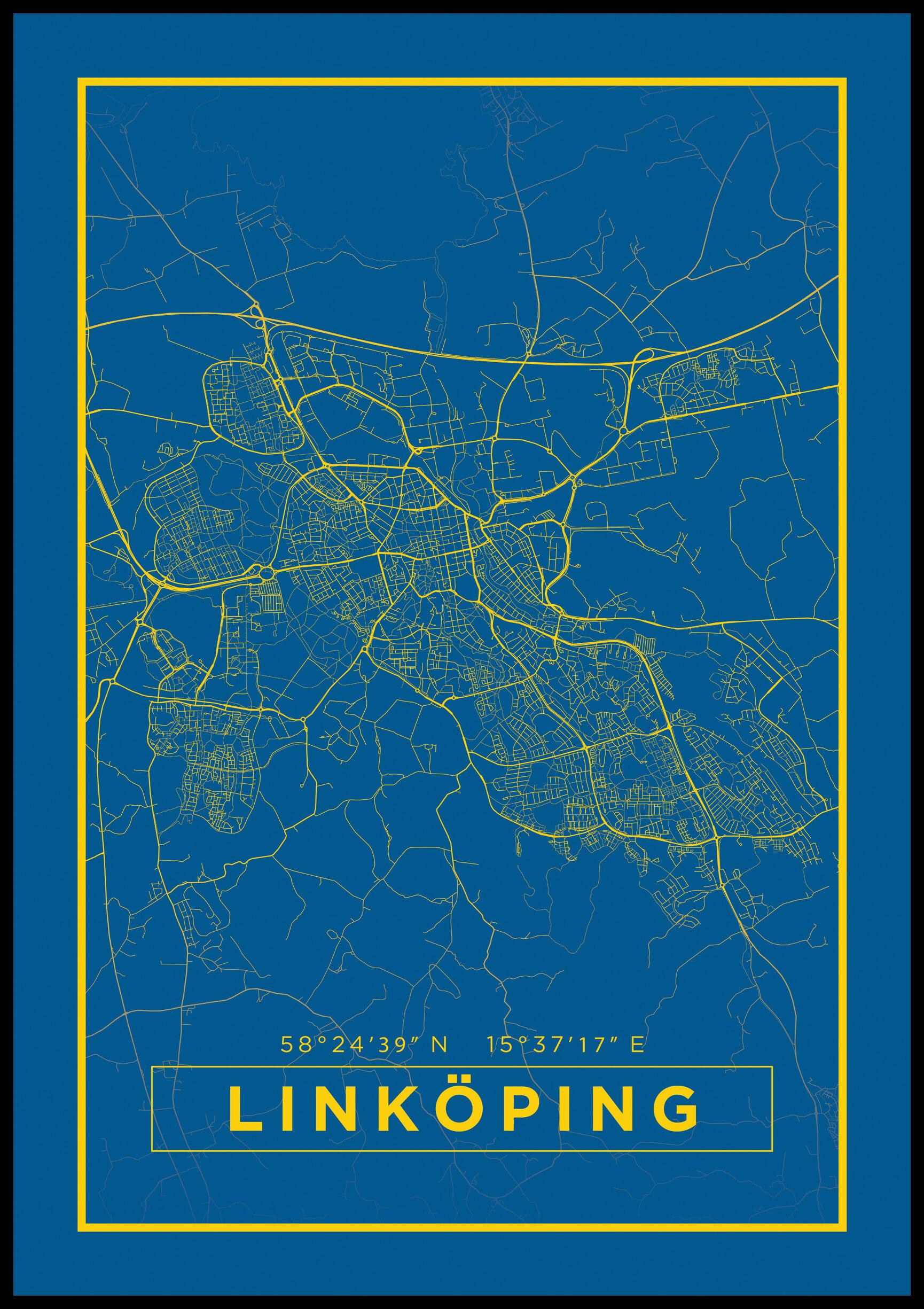 Bildverkstad Kartta - Linköping - Juliste - Sininen