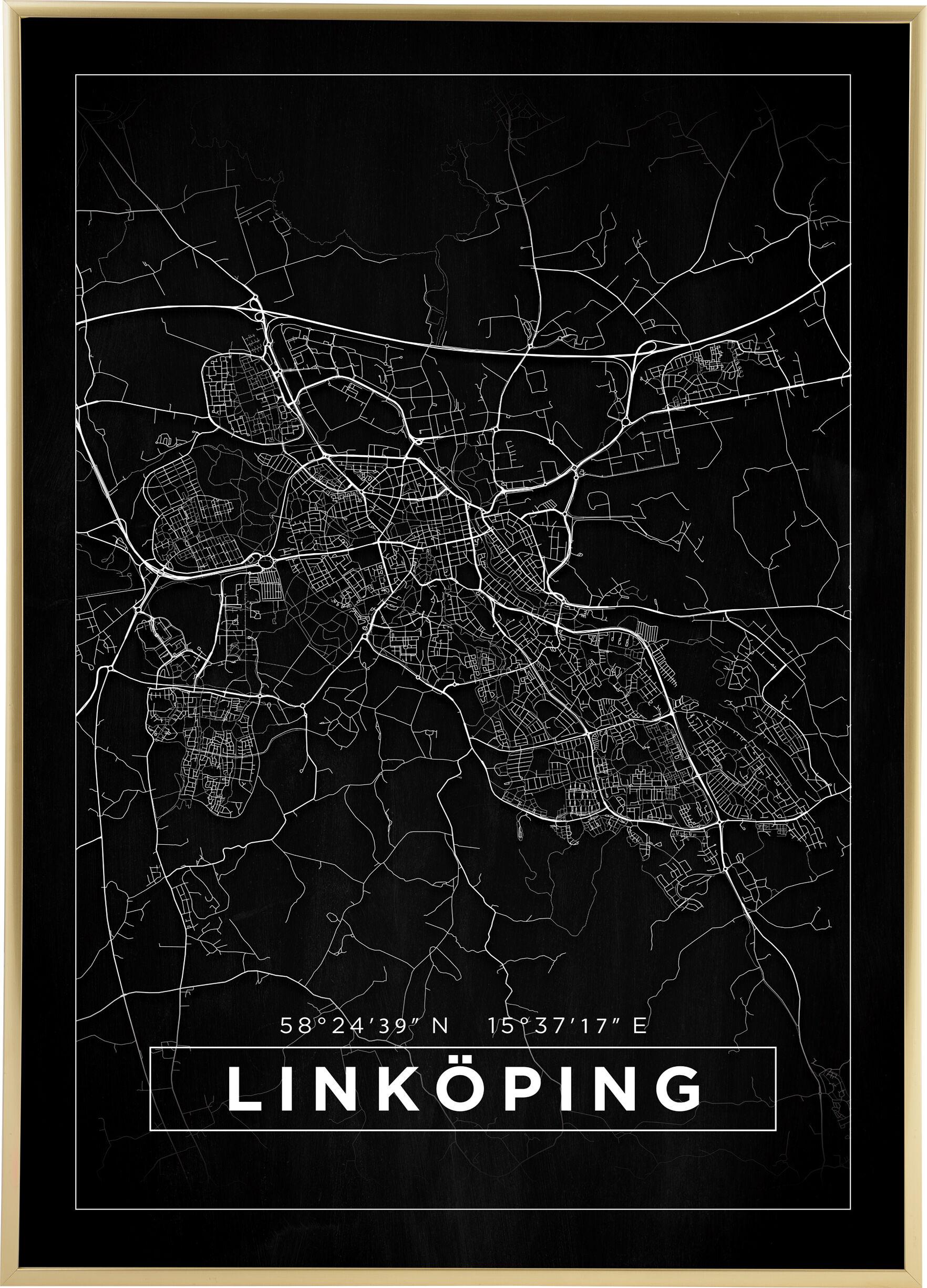 Bildverkstad Kartta - Linköping - Juliste - Musta