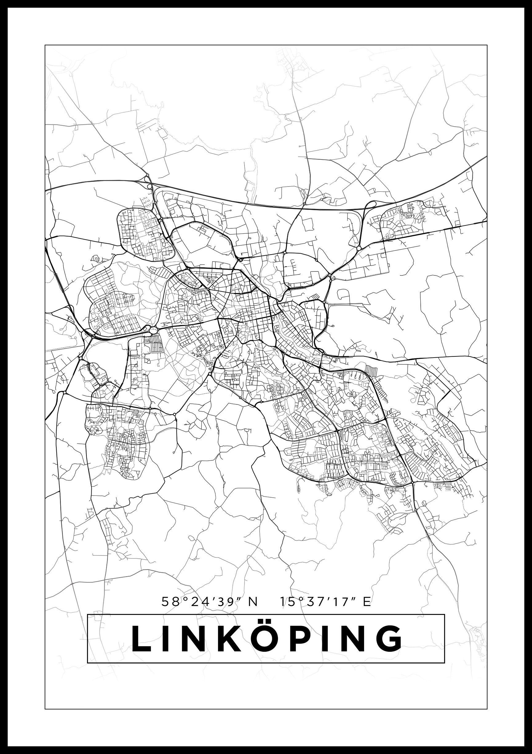 Bildverkstad Kartta - Linköping - Juliste - Valkoinen