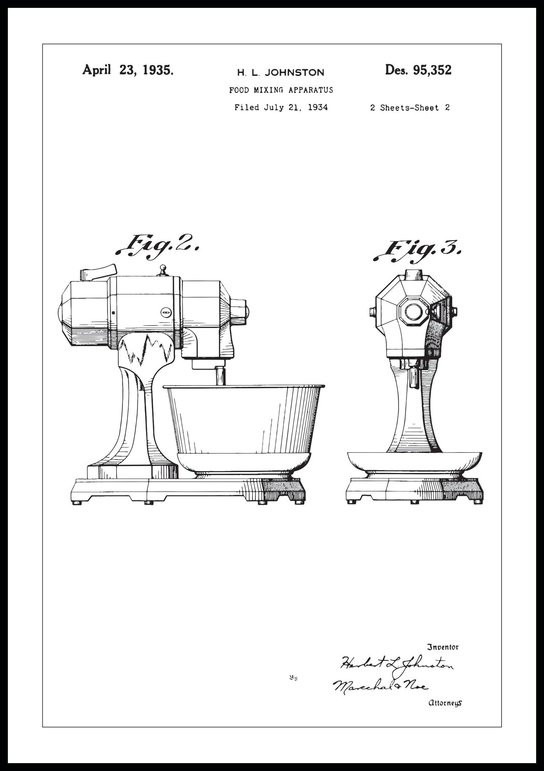 Bildverkstad Patentti Piirustus - Keittiökone II - Juliste