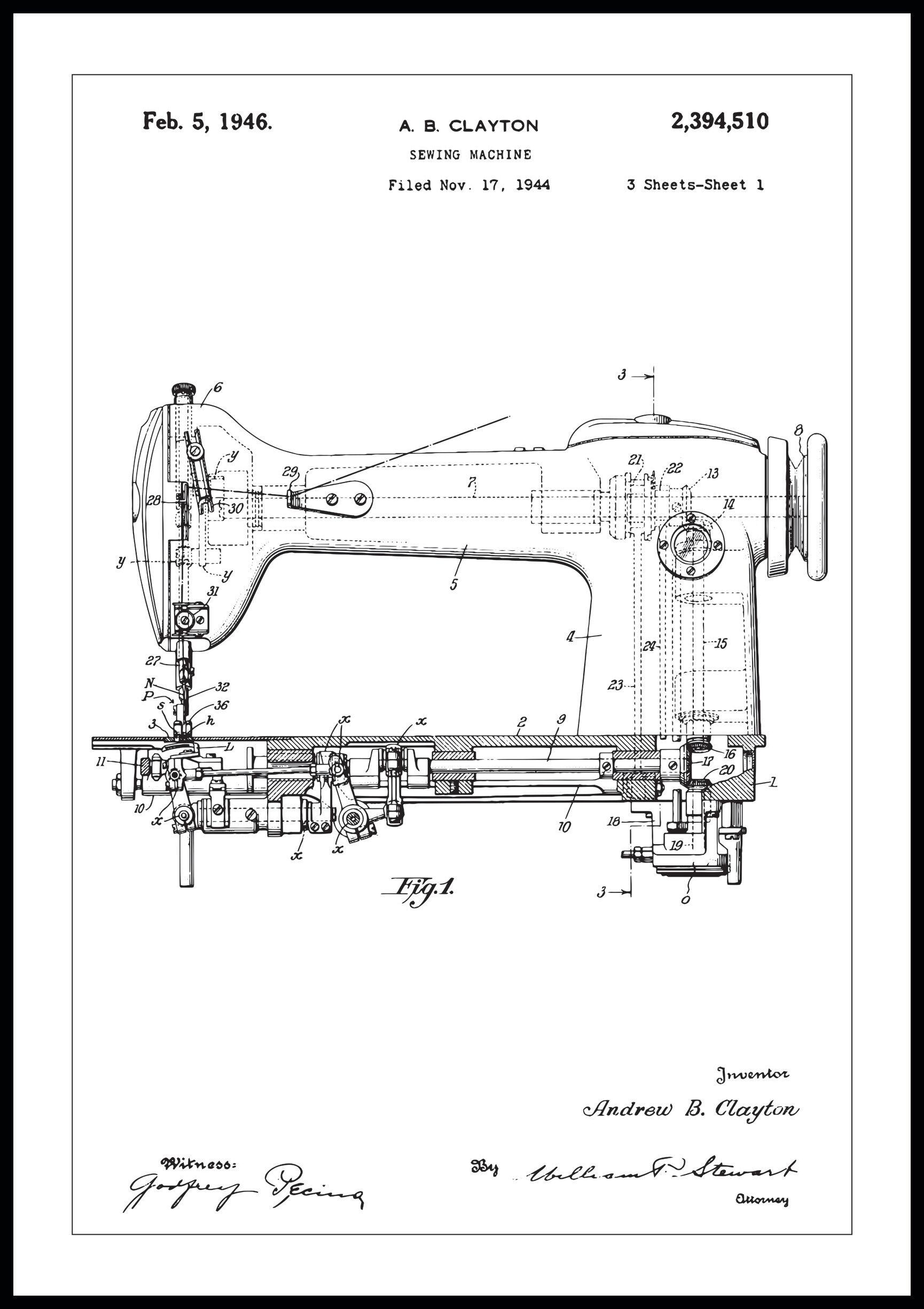 Bildverkstad Patentti Piirustus - Ompelukone I - Juliste