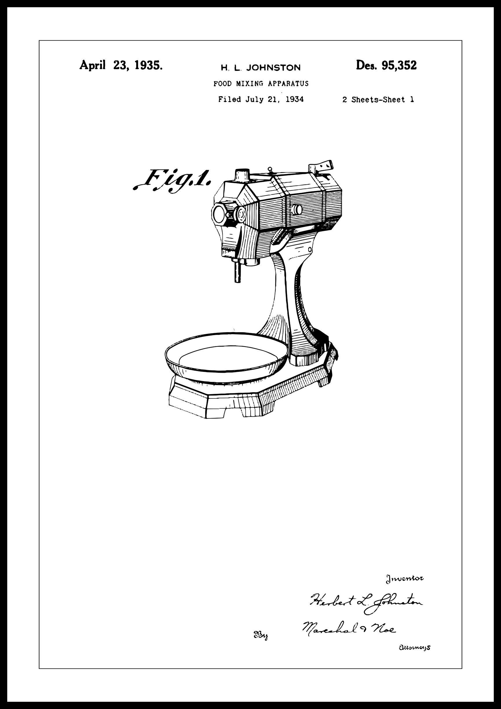 Bildverkstad Patentti Piirustus - Keittiökone I - Juliste