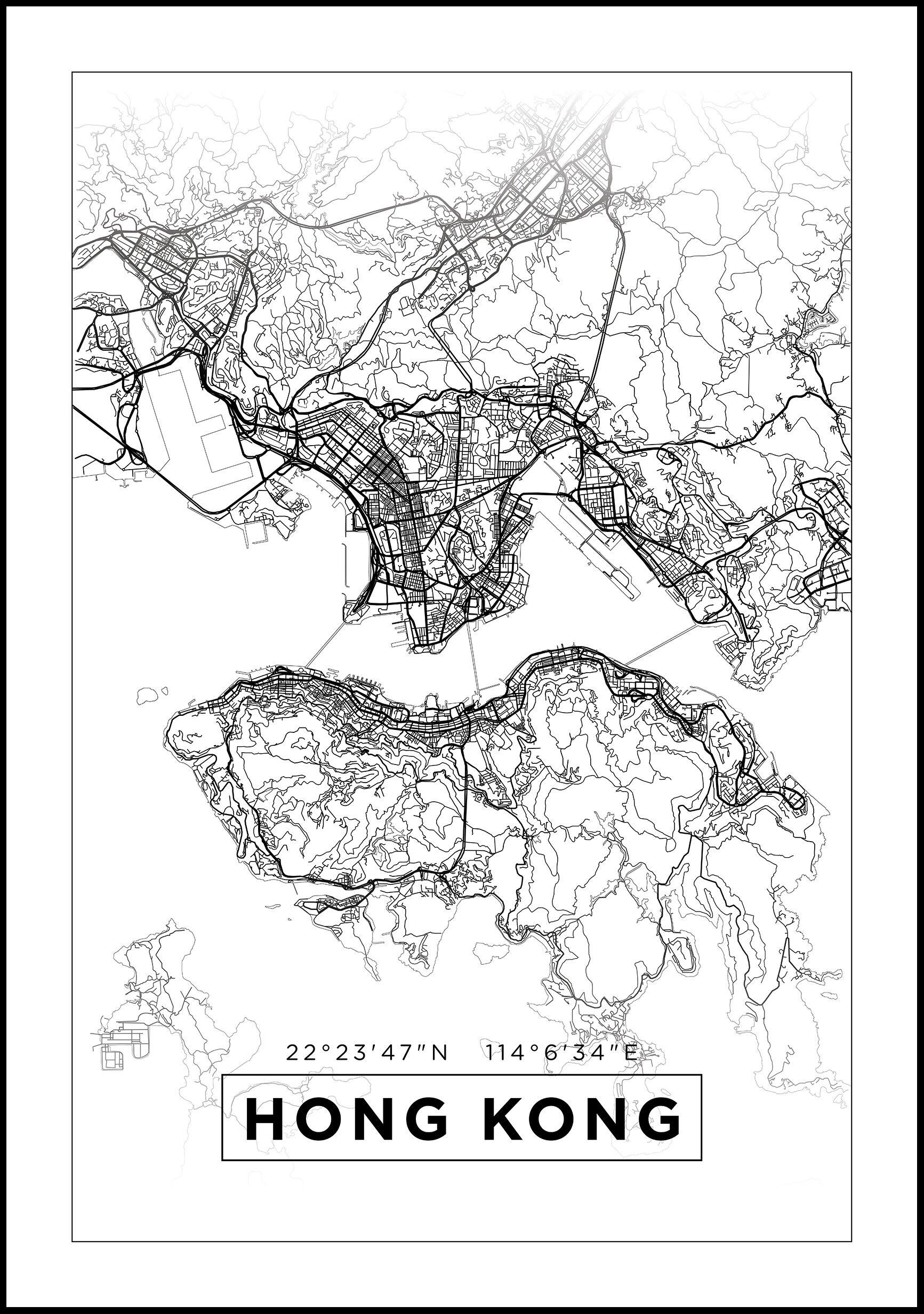 Bildverkstad Map - Hong Kong - White