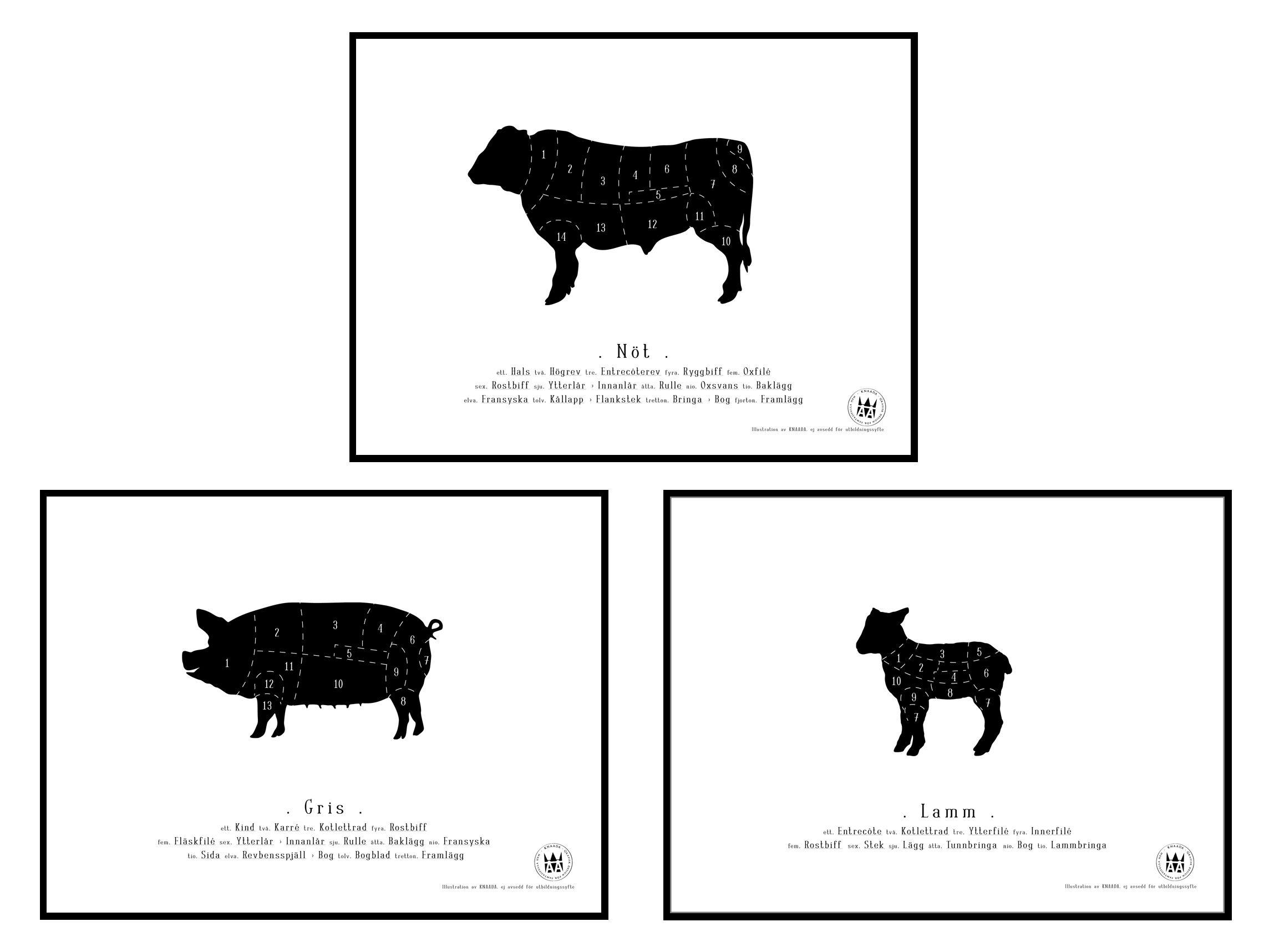 Knaada AB Knaada - Ruhon osat (3-pakkaus) - 18x24 cm