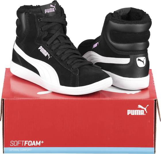 Image of Puma So Vikky Mid Fur Jr Varsikengät & saappaat BLACK/WHITE (Sizes: 4)