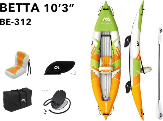 Aqua Marina So Kayak Betta-312 Pihapelit GREEN/ORANGE  - GREEN/ORANGE - Size: One Size