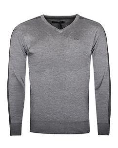 MZ72 Brand Sign V-Neck Knit Grey/Dark Grey