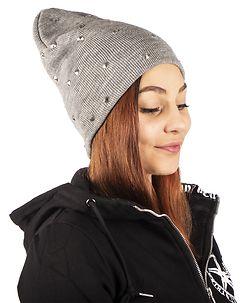 Noisy May Stud Knit Hat Light Grey