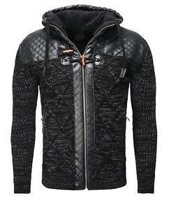 Carisma Kian Zipped Knit Hoodie Black