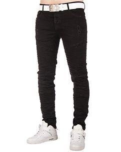 MZ72 Brand Wrunk Biker Jeans Black
