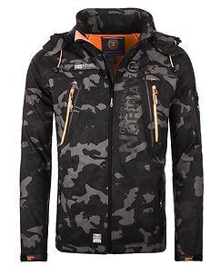 Geographical Norway Techno Softshell Jacket Camo Black/Orange