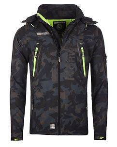 Geographical Norway Techno Softshell Jacket Camo Navy/Green