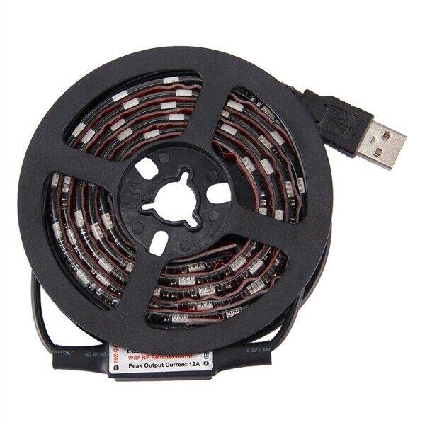 24hshop Tv-taustavalaistus Usb kaukosäätimellä - 12W 60 LED SMD 5050 RGB 1x1m