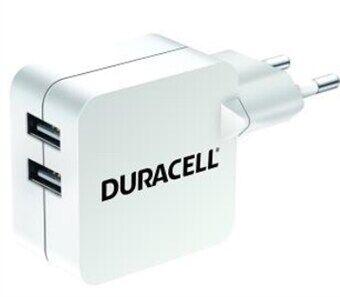 Duracell 2xUSB-Laturi 4,8A (2x2,4A) - Valkoinen