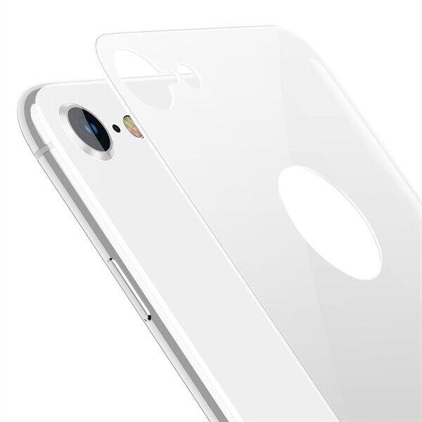 Apple Baseus Näytönsuoja Takaosan suoja karkaistua lasia iPhone 8 - Hopea