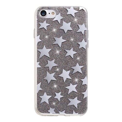 Apple Glitter kuori tähdet iPhone 7 / iPhone 8 Musta