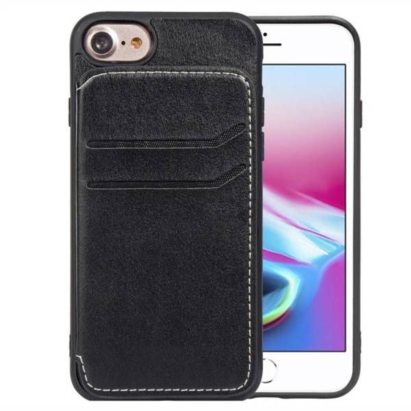 Apple Takakansi Keinonahkaa Korttilokerot + Teline iPhone 8 & 7 & 6 Musta