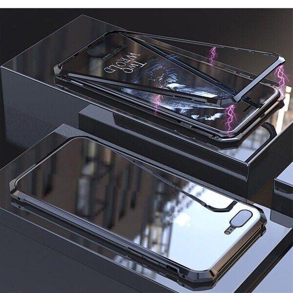 Apple Magneettinen Temperoitu Näytönsuoja Kehys iPhone 8 Plus & 7 Plus Musta