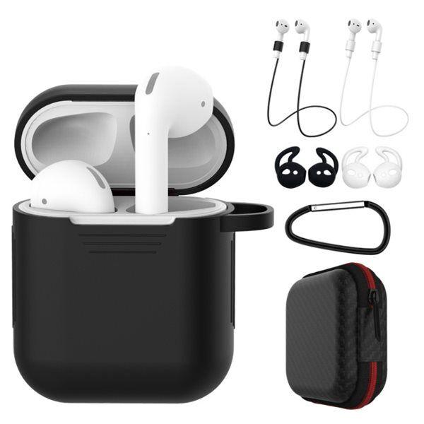 Apple Silikoni suojakotelo  Apple AirPods 1/2 - Musta/valkoinen