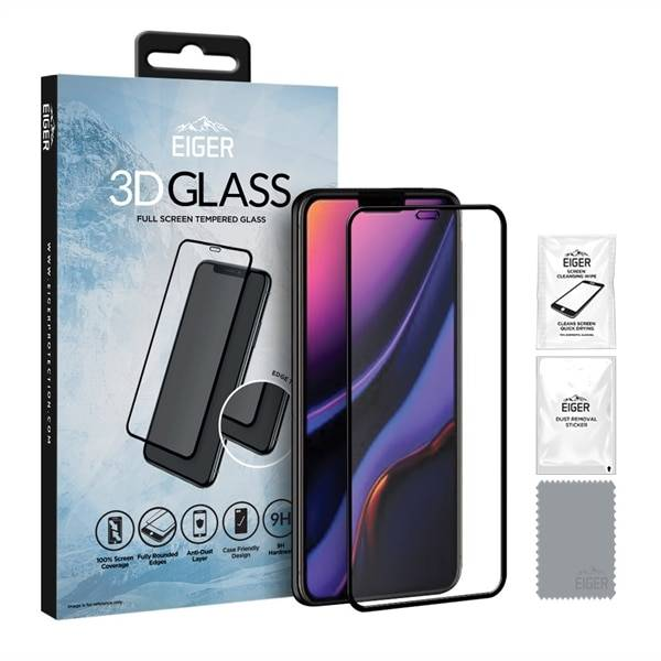 Eiger 3D GLASS Temperoitu Näytönsuoja Apple iPhone 11 - Kirkas/Musta