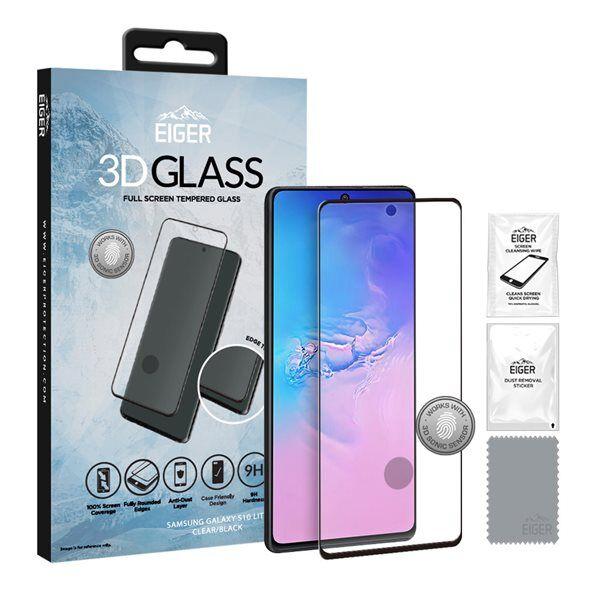 24hshop Eiger 3D Temperoitu Näytönsuoja Samsung Galaxy S10 Lite Kirkas/Musta