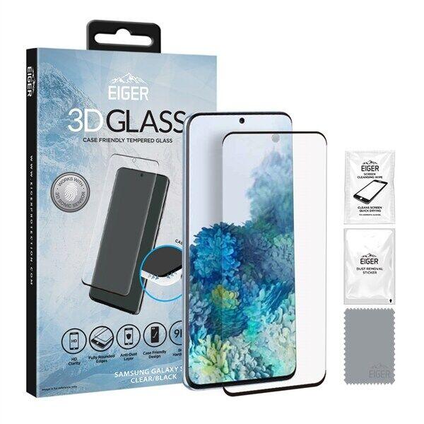 24hshop Eiger 3D CF Temperoitu Näytönsuoja Samsung Galaxy S20 Kirkas/Musta