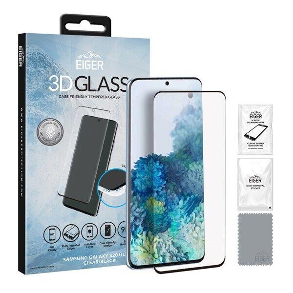 24hshop Eiger 3D CF Temperoitu Näytönsuoja Samsung Galaxy S20 Ultra Kirkas/Musta